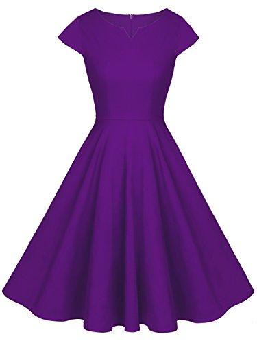 FAIRY COUPLE 1950S Retro Rockabilly Tupfen Kappen Hülsen Abschlussball Kleid DRT019(S,Lila) -