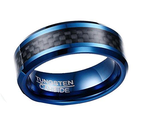 HIJONES Herren 8MM Kohlenstoff Faser Inlay Wolfram Carbide Ring Schwarz und Blau Größe 65 (Herren Schwarz Kohlenstoff Faser Ring)