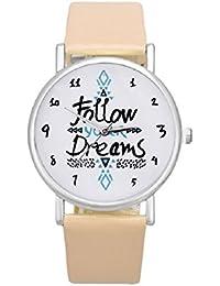 Malloom® Mujeres Siga Sueños Palabras Patrón PU Relojes de Pulsera (beige)