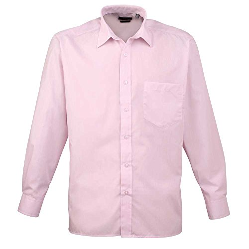 Premier Workwear Herren Businesshemd Poplin Long Sleeve Shirt Pink