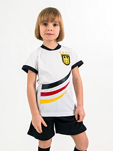 Unbekannt Fußball Trikotset Trikot Kinder 4 Sterne Deutschland Wunschname Nummer Geschenk Größe 98-170 T-Shirt Weltmeister 2014 Fanartikel EM 2016 (146)
