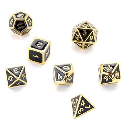 KUNSE 7Pcs Gold Dice Zink Alloy Metall Polyhedral Rolle Mehrseitige D4-D20 Mit Taschen