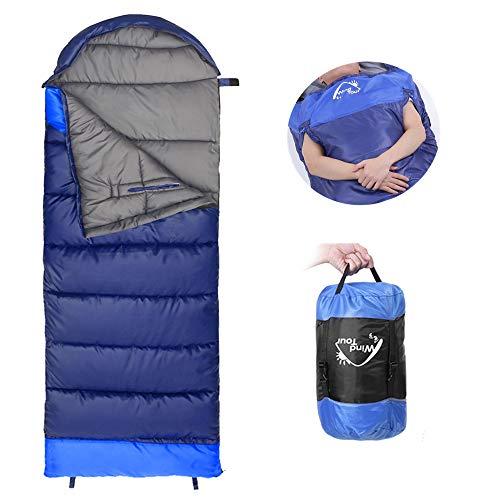 3 Jahreszeiten Schlafsack NACATIN Schlafsack Outdoor Leichter Deckenschlafsack mit Kleinem Packmaß in Tragetasche für Camping Outdoor Reise Indoor 220 x 75 cm Zum Verbinden für 2 Personen (Blau Links)