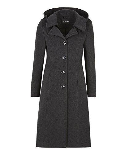 La Creme - Damen Winter Wolle Und Kaschmir Damen Mit Kapuze Mittellang Mantel Anthrazit