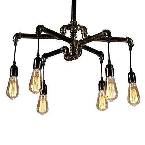 Öl Eingerieben Bronze Licht 6 (Vintage Pendelleuchte Industrielle Deckenleuchte Steampunk Lampe Retro Metall Wasserpfeife Edison 6 Lichter Kronleuchter (mit Öl eingerieben Bronze))