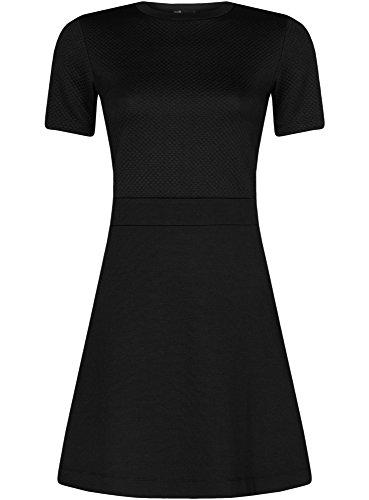 oodji-Ultra-Femme-Robe-Combine-avec-Haut-en-Tissu-Textur-Noir-FR-38-S