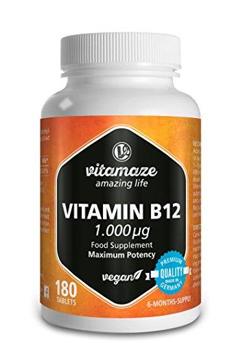 Vitamine B12 avec Méthylcobalamine à fort dosage 1000 µg 180 comprimés Végétalien 6 mois d'approvisionnement Produit de qualité fabriqué en Allemagne sans stéarate de magnésium