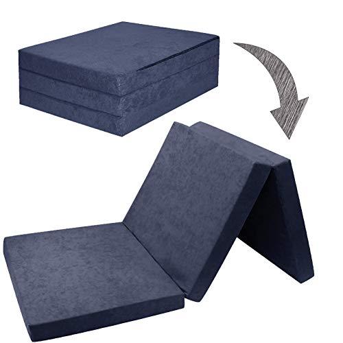 Fortisline Matelas d'appoint Pliant lit d'appoint lit d'invité futon Pouf 195x80x9 cm Couleur Bleu