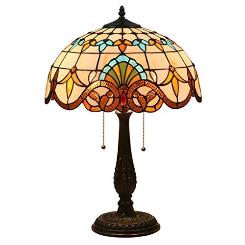 Luxuriöse Glasmalerei Tischlampen Barock, Retro Tiffany-Art-Tabellen-Lampen mit Reißverschluss Schalter für Wohnzimmer, Legierungsunter,01 -