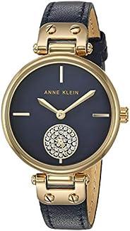Anne Klein Women's Swarovski Crystal Accented Leather Strap Watch One Size Gold-