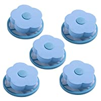 UPKOCH Washing Machine Lint Filter Bag Floating Pet Hair Lint Mesh Remover Household Reusable Hair Catcher Lint Traps Laundry Supplies 5pcs (Blue)