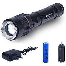 Zoweetek® Linterna LED (1200LM) de Mano ,Resistente al Agua con Batería Recargables, Ultra Brillante Flashlight de 5 Modos para Ciclismo, Camping, Montañismo, Senderismo y las actividades al aire libre