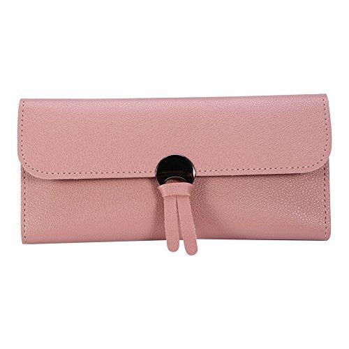 Brino Frauen Lange Pu-leder Trifold Geldbörse Tasche Clutch Card Geld Halter(Rosa) (Geld Lange Brieftasche)