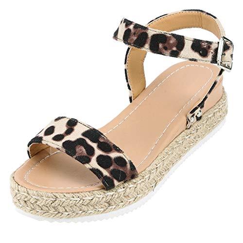 Frauen Sommer Sandalen Wedges Leopard Casual Schuhe Strap Gladiator Roman Sandalen Schnalle Keile Leopard Retro Peep Toe Sandalen -