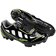 Ges Manufacturas S.A. MTB Rider Zapatillas, Unisex, Negro Brillo/Verde Fluo, 43