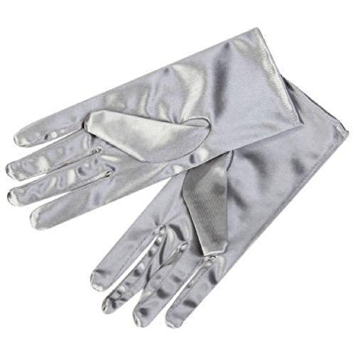 L & L Damen kurz Handgelenk Handschuhe weiche satin Party Ball Abend Hochzeitsgeschenk - Silbern, One size (Damen Handschuhe Abend)