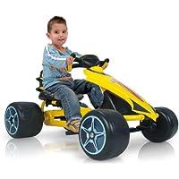 INJUSA Go-Kart - Flecha a pedales para niños de 2 años con sillín ajustable y piñón fijo, amarillo (412)