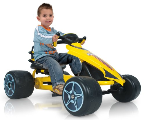 Injusa - Go-Kart Flecha a pedales para niños de 2 años con sillín ajustable y piñón fijo, amarillo (412)