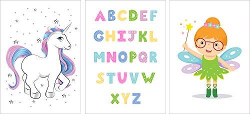 POSTORO ABC   DIN A4 3er Set Kinderzimmer Babyzimmer Poster Bilder   Mädchen Junge Deko   Dekoration Kinderzimmer (Abc Bilder)