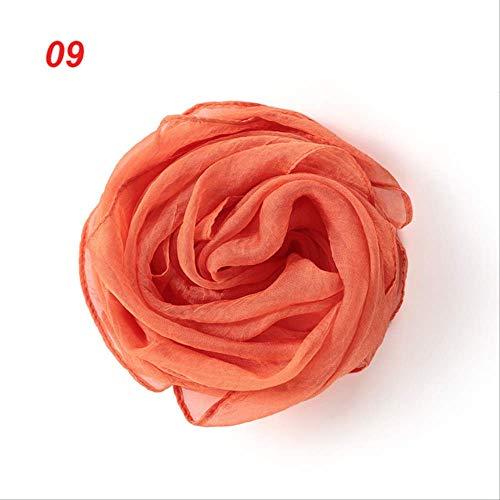 HJSDUI ChiffonschalDamen Mädchen Einfarbige Weiche Chiffon Seide Schal Schal Wickeln Schal Elegante Schal Retro Stirnband Haarband Mit Einer Vielzahl Von Modellen 09 orange