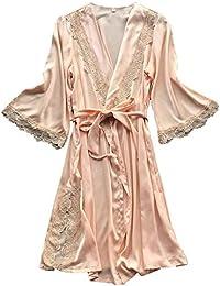 BaZhaHei Ropa interior Lencería Mujer Seda Vestido de Bata de Encaje Babydoll Camisón Ropa de Dormir Kimono Conjunto Sexy Pijama de Encaje Sexy camisón Cardigan Robe Conjunto de Dos Piezas