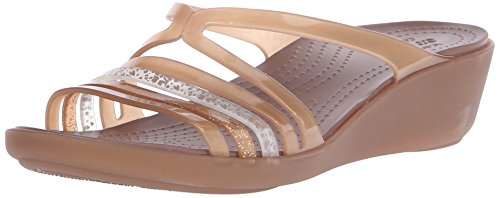 Crocs Isabellaminwdg, Chaussons Mules Femme Or (Bronze)