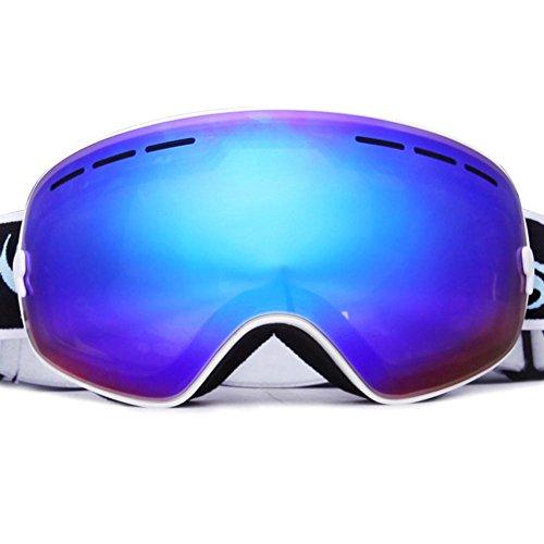 Outdoor occhiali protezione antivento doppio strato lenti anti-nebbia polarizzato occhiali da sole grande sferica occhiali da sci per uomo e donna , white