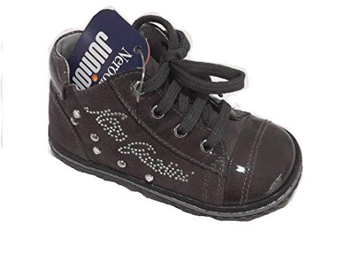 Nero giardini junior scarpa primi passi bimba stringata+cerniere carbone scamosciata (22)