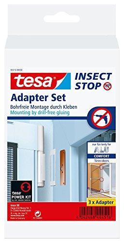 tesa Insect Stop Adapter-Set für ALU COMFORT Fliegengitter für Türen - Klebeadapter ohne Bohren - Klebe Befestigung für Insektenschutz-Tür in Weiß
