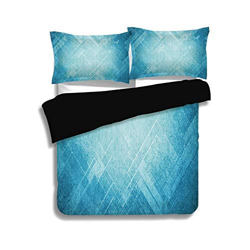 Schwarz Bettbezug Set, hellblau, Grunge abstrakte Chevron gestreift verblasste geometrische Muster Winkel und Linien, blau hellblau, dekorative 3-teilige Bettwäsche Set von 2 Pillow Shams, TWIN-Größe (Twin Bettwäsche Für Mädchen Chevron)