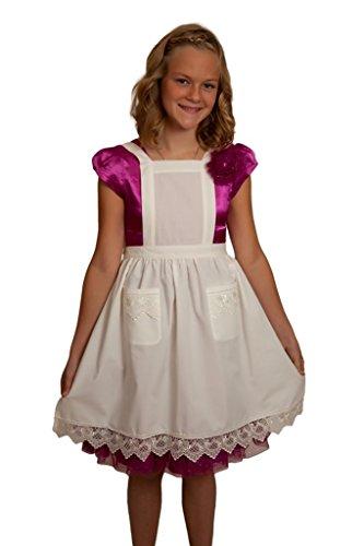 Deluxe Girls Lace Victorian Maid Kostüm Kids Full Apron ecru (Off-White/Beige) mit Taschen - Victorian Girl Kostüm
