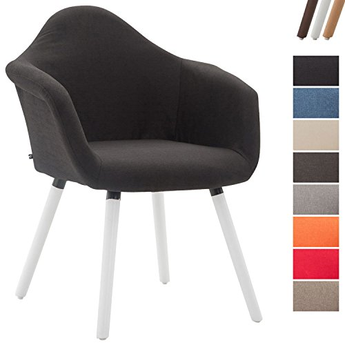 Clp sedia da pranzo tito, sedia cucina in tessuto, con braccioli e schienale, sedia con telaio in legno di faggio, poltroncina 4 gambe, imbottita, sedia design, poltroncina da salotto nero colore base: bianco
