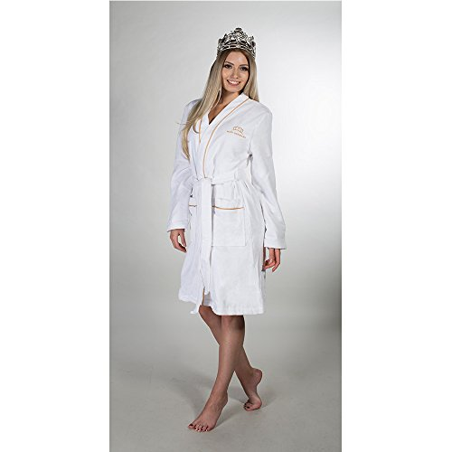 Miss Germany Accappatoio in kimono form con Ricamo, Cotone, nero, Small Gold