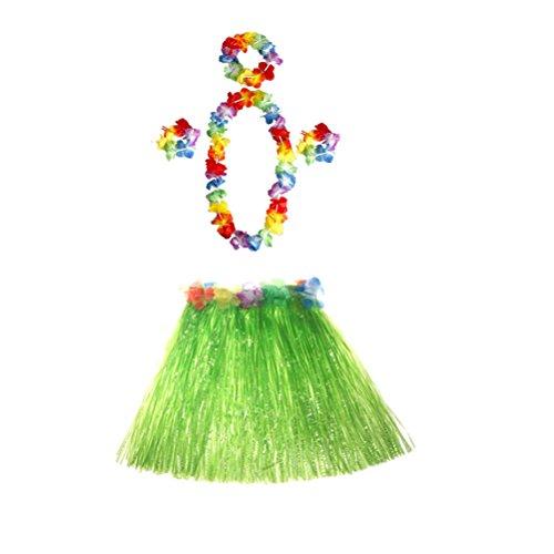 Stirnbänder Kostüm Tanz - Toyvian 5 sätze Hula Gras Rock Set Hawaiian Luau Tropische Rock Kinder Mädchen Kostüm Tanz Rock und Stirnband Armbänder Halskette 40 cm (Grün)