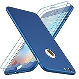 Losvick Coque iPhone 6/ 6s Plus, Housse PC Matière [2 Pièces Film de Verre trempé] 360 Full Protection Cover Antichoc Anti-Rayures Ultra Mince Bumper pour iPhone 6 Plus/6s Plus-5.5''- Bleu
