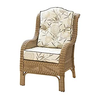 Alfresia Denver Wicker Reading Chair with Button-Back Cushion - Bamboo Natural