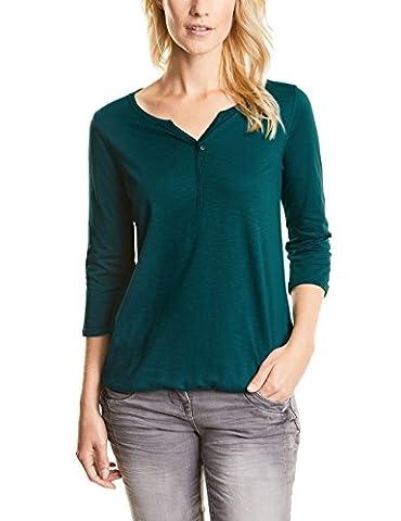 CECIL Damen Langarmshirt 311362 Amelie, Grün (Emerald Green 11023),