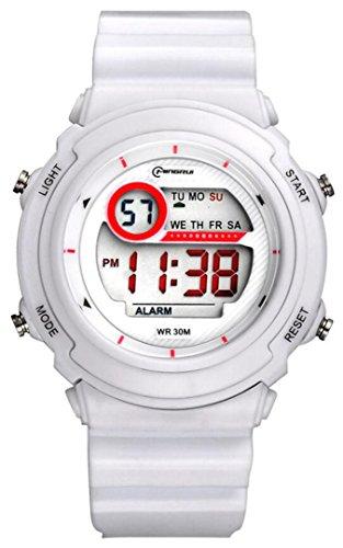 Niños Niño Niñas Niños Hombres Multifunción 30M impermeable Deporte Digital Relojes Cronómetro con Reloj y Noche Luz - 8 colores (Blanco)
