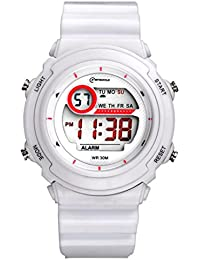 Kids Child Girls Boys Men Women Multifunction Waterproof 30M Sport Digital Watches Stop Watch with Clock and Night Light - 8 Colors (blanc)