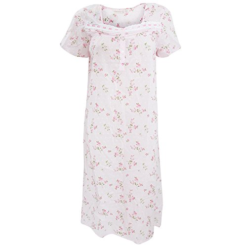 Chemise de nuit à motif floral 100% coton - Femme Rose