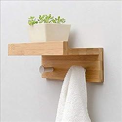 Corredor Estante de pared Partición de madera creativa Gancho montado en la pared Toallero de baño Gancho de ropa decorativo de varios tamaños (Color: Negro, Color de madera, Blanco) (Color: NEGRO, Ta