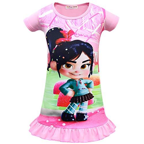 QYS Mädchen Kleid für Wrack-Es Ralph Vanellope Baby Sugar Rush Party Kostüme Pyjama Nachthemd,Dresspink,130cm