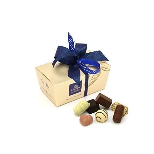 Leonidas Pralinen | 400g handverlesene belgische Pralinen Mischung mit individuell handgefertigter Schleife in goldenem Pralinen Ballotin, ideal als Geschenk oder zum Selbernaschen (Blau) -