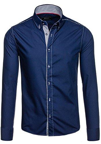 BOLF Herrenhemd Hemd Langarm Slim Fit Freizeit Classic 6918 Dunkelblau