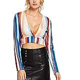 TOPKEAL Estate Donna Ladies Fashion Sexy Camicia a Maniche Lunghe con Scollo a V Dietro Collo Manica Lunga 2019