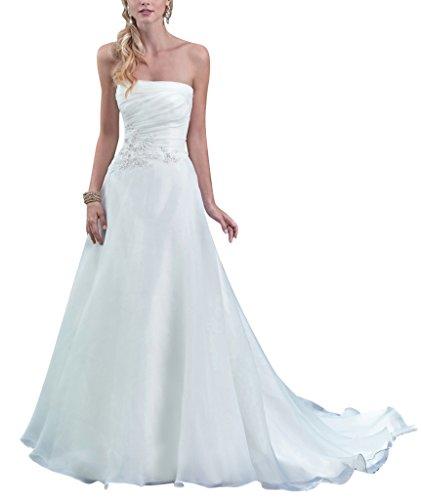 George bride senza spalline organza una linea abito da sposa,taglia 38,bianco