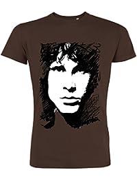 Pushertees - T-Shirt Mann Chocolat LTB-43 Porträt morrison Gesicht rock doors