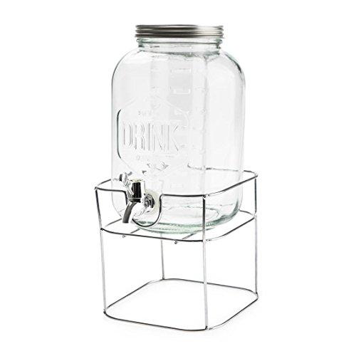Balvi dispenser per bevande drink colore trasparente 3,7l con il supporto di metallo con infusore cristallo 32x18cm