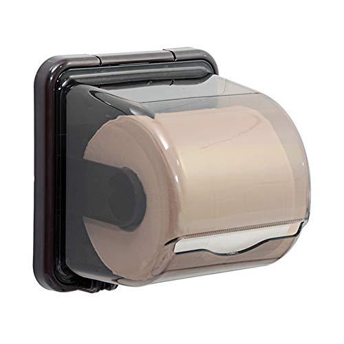 ZHAOHUI-ablagen badezimmer ABS-Kunststoff Tissue Box Multifunktion Feuchtigkeitsfest Wasserdicht Rollenhalter Design, Stanzfreie Installation, 3 Farben (Farbe : Brown-A)