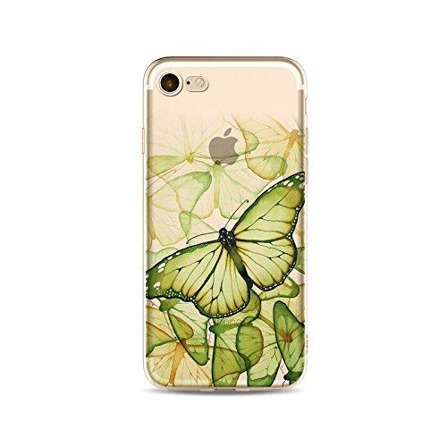 Coque iPhone 5 5s Housse étui-Case Transparent Liquid Crystal en TPU Silicone Clair,Protection Ultra Mince Premium,Coque Prime pour iPhone 5 5s-Le Papillon-style 4 5